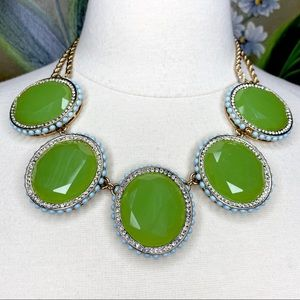 Green Faceted Rhinestone Green Statement Necklace